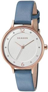 Skagen Women's 'Anita' Quartz Stainless Steel and Leather Automatic Watch, Color:Blue (Model: SKW2497)
