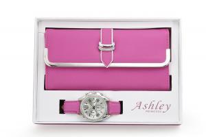 Women's Matching Watch & Wallet - Hot Pink