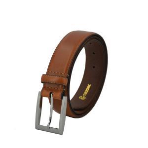TINZONC Men's 35mm Leather Belt With OneRow Stitch Brown/Black