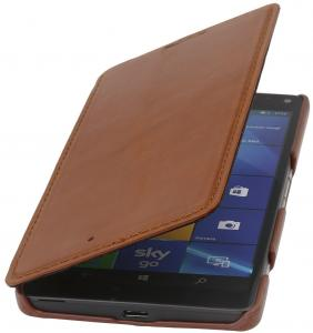 StilGut Book Type, Genuine Leather Case, Cover for Microsoft Lumia 950 XL / 950 XL Dual SIM, Cognac Brown