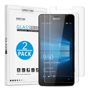 [2 Pack] Microsoft Lumia 950 XL Screen Protector, OMOTON 0.26 mm 2.5D Tempered Glass Screen Protector for Lumia 950 XL (2015 Released) [9H Hardness] [Crystal Clear] [Scratch Resist] [No-Bubble]