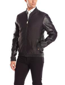 Calvin Klein Men's Premium Leather Mixed Media Bomber Jacket