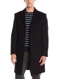 Calvin Klein Men's Plaza Single Breasted Wool Blended Overcoat Regular Fit
