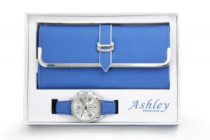 Women's Matching Watch & Wallet - Blue