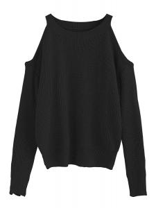 ROMWE Women's Casual Cold Shoulder Loose Knitted Sweater Tops