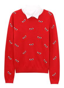 Meters/bonwe Women's Graphic Round Neck Pullover Knit Sweater