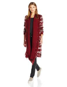 Jack by BB Dakota Women's Maribeth Intarsia Printed Maxi Sweater Cardigan with Fringe