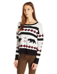 Jack by BB Dakota Women's Avichi Bear Print Intarsia Round Neck Sweater