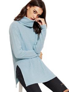 ROMWE Women's Turtleneck Side Slit Loose Cable Long Sleeve Sweater