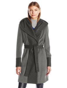 Calvin Klein Women's Wool Wrap Coat with Detachable Belt and Oversized Collar