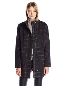 Lucky Brand Women's Windownpane High Collar Wool Coat with Hidden Placket