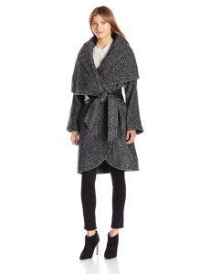 Badgley Mischka Women's Sloan Oversized Wool Wrap Coat with Convertible Collar
