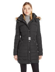 Tommy Hilfiger Women's Long Belted Down Coat with Faux-Fur Trim Hood
