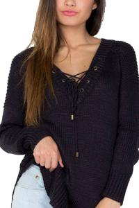 Mulisky Womens Sexy V-Neck Lace Up Long Sleeve Pullover Knitted Sweater Jumper