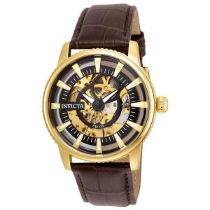 Invicta Men's 'Objet d'Art' Automatic Stainless Steel and Leather Casual Watch, Color:Brown (Model: 22642)