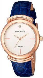 Anne Klein Women's AK/2358RGNV Diamond-Accented Rose Gold-Tone and Blue Croco-Grain Leather Strap Watch
