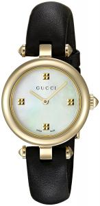 Gucci Women's Swiss Quartz Gold-Tone and Leather Dress Watch, Color:Black (Model: YA141505)