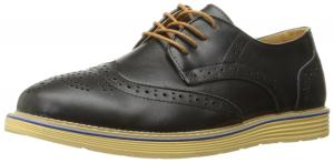 Kunsto Men's Leather Brogue Oxford Dress Shoes Lace Up