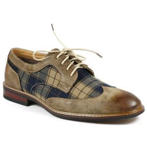 Ferro Aldo MFA-19266A Grey Mens Lace Up Plaid Dress Classic Shoes