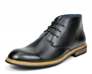 Bruno MARC BERGEN-02 Men's Formal Classic Lace Up Leather Lined Short Ankle Dress Chukka Boots