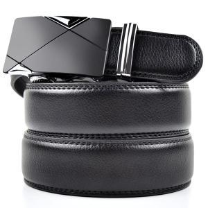 "Mens Leather Belt With Automatic Buckle Ratchet Belt 1.38"" Width(Black)"