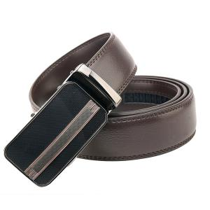 Men's Leather Dress Ratchet Belt With Automatic Slide Buckle ( Brown,Black)