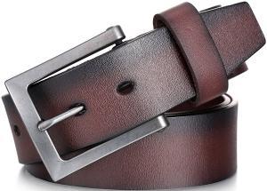 "Marino Men's Genuine Leather Belt, Classic Jean Style, 1.5"" Width"