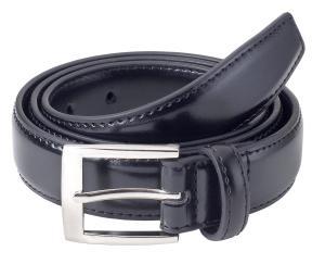 Sportoli™ Mens Classic Stitched Genuine Leather Uniform Belt - Black Brown White