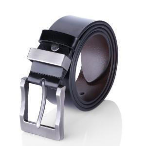 Men's Belt Reversible Business Casual Belt for Men with Pin Buckle (Black & Brown)