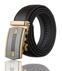 Men's Imperial Ratchet Leather Dress Belt (gold buckle w/ black leather)