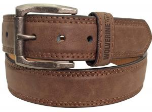 Wolverine Men's Double Topstitched Leather Belt Roller Buckle