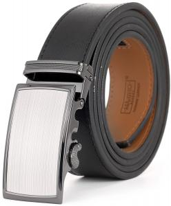 """Marino Men's Wide Rimmed Imprinted Leather Ratchet Dress Belt 1.25"""" Wide with Automatic Buckle, Enclosed in an Elegant Gift Box"""