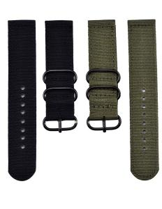 Mudder 2 Pieces 22mm Replacement Nylon Watchbands, Army Green and Black