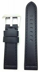 22mm, Black, Panerai Style, Smooth Leather Watch Band