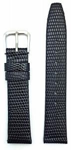 16mm Short Length, Round Lizard Grain, Flat, Black Leather Watch Band