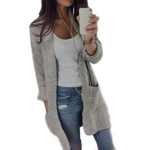 PHOTNO Casual long knit coat jacket cardigan sweaters for women Lady