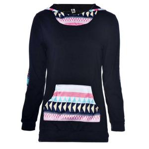 Autumn Blouse!Canserin Women Geometric Printing Pocket Hoodie Tops