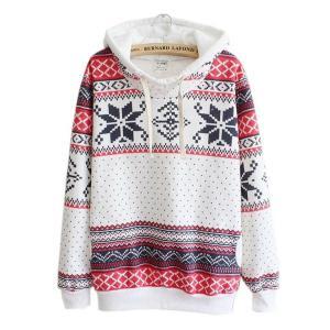 FAPIZI ♥ Women Blouse ♥ Women Christmas Snow Hoodie Sweatshirt Jumper Sweater Hooded Pullover (XL, White)