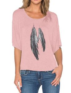 Haola Womens Funny Printed Feather Graphic T Shirts Loose Tops Juniors Tees