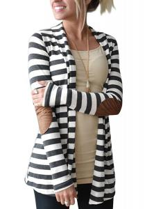 OURS Women's Elbow Patch Long Sleeve Shawl Collar Striped Open Front Cardigan Sweater…