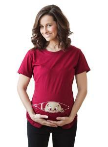 Women's Caucasian Peeking Baby Maternity T-Shirt Cute Funny Pregnancy Tee