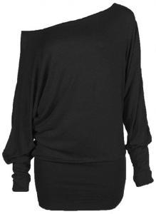 Zj Clothes Womens Long Sleeve Off Shoulder Plain Batwing Top