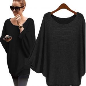 Sweater ,BeautyVan Fashion Beautiful Women Oversized Batwing Knitted Loose Sweater (L, black)