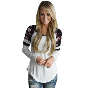 Women Floral Splice Shirt, Misaky Long Sleeve Round Neck Pullover Blouse