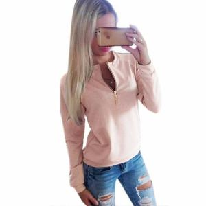 Lady Winter/Fall Hoodies Long Sleeves Zipper Round Collar Simple Loose New