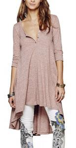 R.Vivimos Women Half Sleeve High Low Loose Casual T-shirt Tops Tee Dress