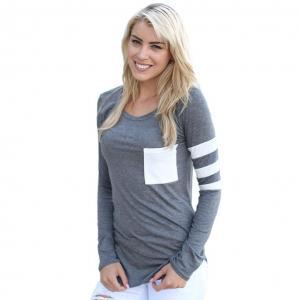 Franterd, Women Clothes - Casual Tops - Long Sleeve Splice Pullover Shirt Blouse
