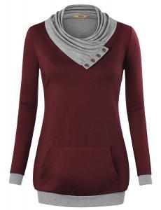Miusey Women's Cowl Neck Long Sleeve Pullover Sweatshirt with Kangaroo Pocket