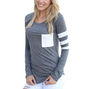 Comemall Girl Workout Jogging T-Shirt Fitted Long Sleeve Tops