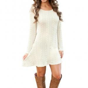 Franterd Women's Plain A Line Cable Long Sleeve Knit Sweater Mini Dress (S, White)